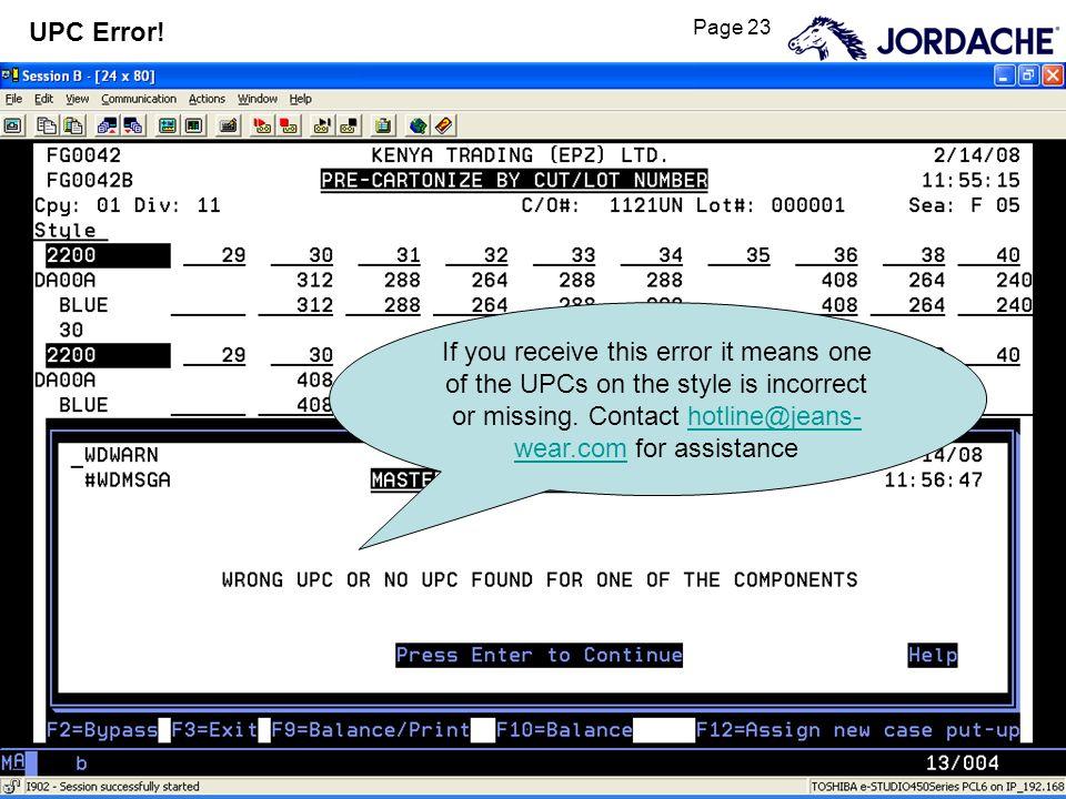 Page 23 UPC Error.