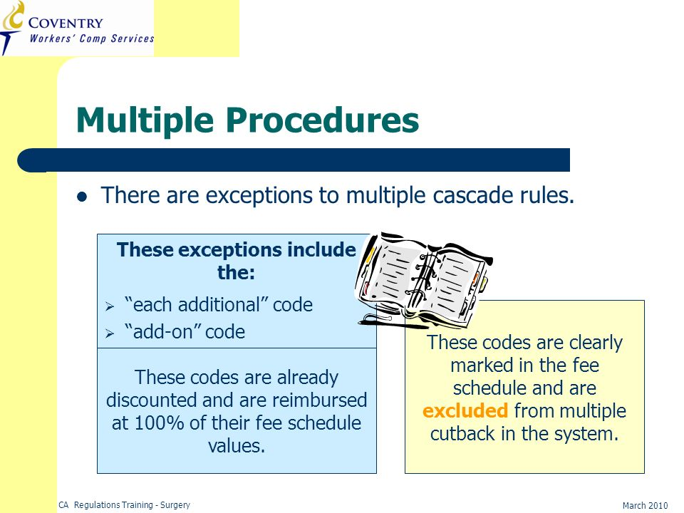 CA Regulations Training - Surgery March 2010 Multiple Procedures There are exceptions to multiple cascade rules. These exceptions include the: each ad