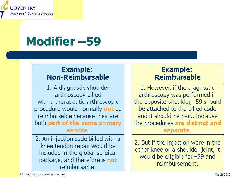 CA Regulations Training - Surgery March 2010 Modifier –59 Example: Non-Reimbursable Example: Reimbursable 1. A diagnostic shoulder arthroscopy billed