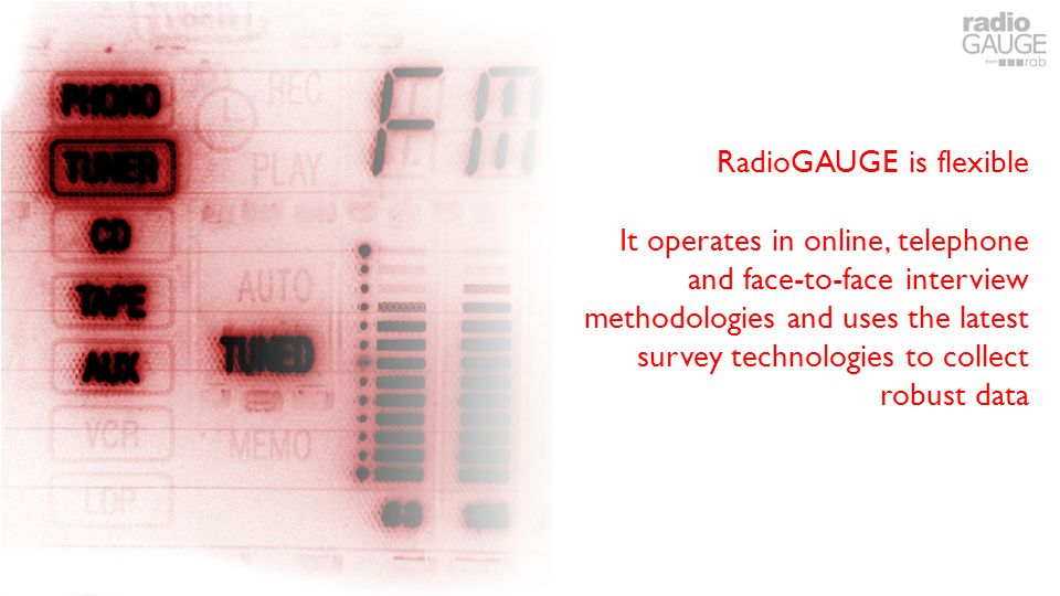 RadioGAUGE is flexible It operates in online, telephone and face-to-face interview methodologies and uses the latest survey technologies to collect robust data