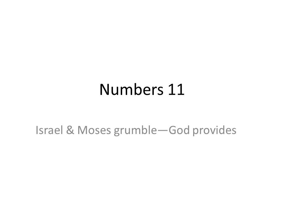 Numbers 11 Israel & Moses grumbleGod provides