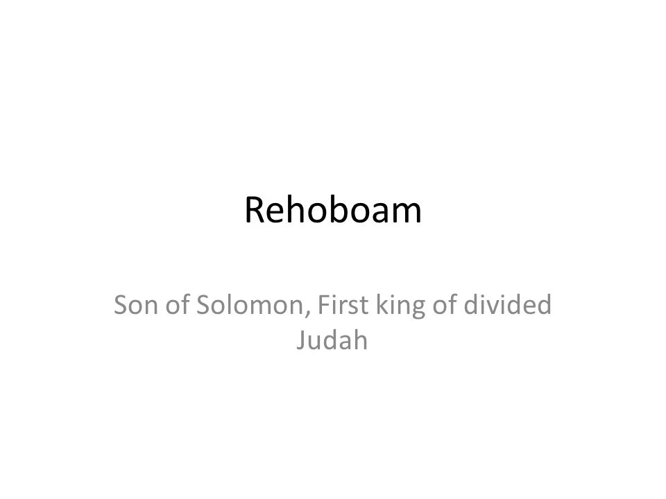 Rehoboam Son of Solomon, First king of divided Judah