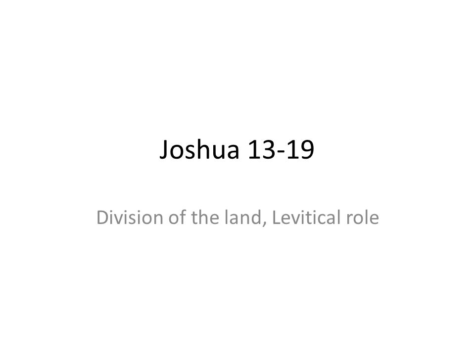 Joshua 13-19 Division of the land, Levitical role