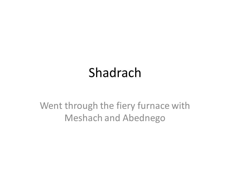 Shadrach Went through the fiery furnace with Meshach and Abednego