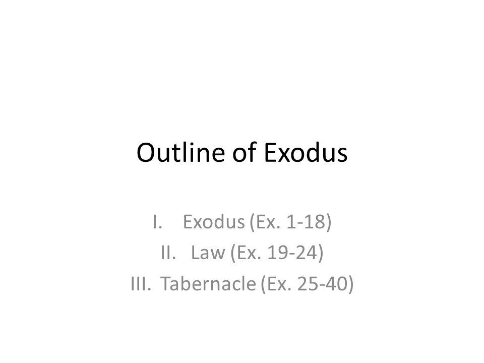 Outline of Exodus I.Exodus (Ex. 1-18) II.Law (Ex. 19-24) III.Tabernacle (Ex. 25-40)