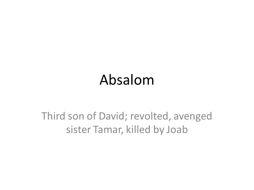 Absalom Third son of David; revolted, avenged sister Tamar, killed by Joab