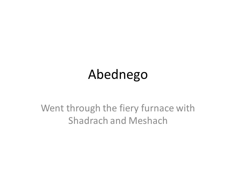 Abednego Went through the fiery furnace with Shadrach and Meshach
