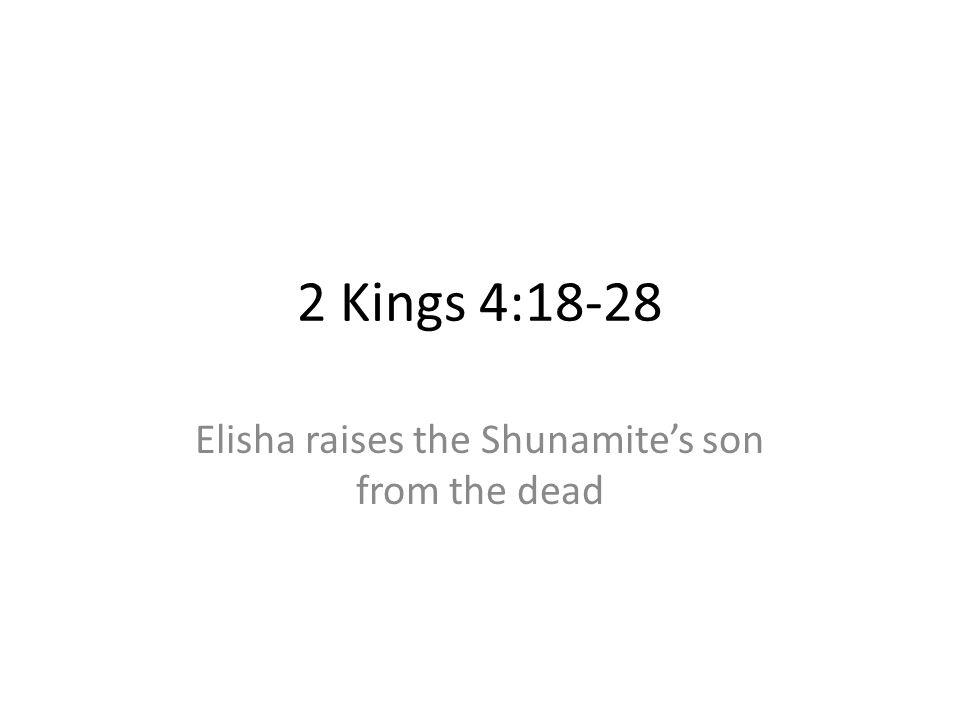 2 Kings 4:18-28 Elisha raises the Shunamites son from the dead