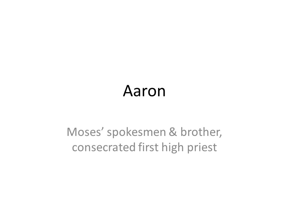 Aaron Moses spokesmen & brother, consecrated first high priest