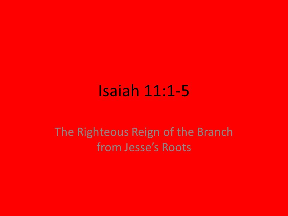 Isaiah 11:1-5 The Righteous Reign of the Branch from Jesses Roots
