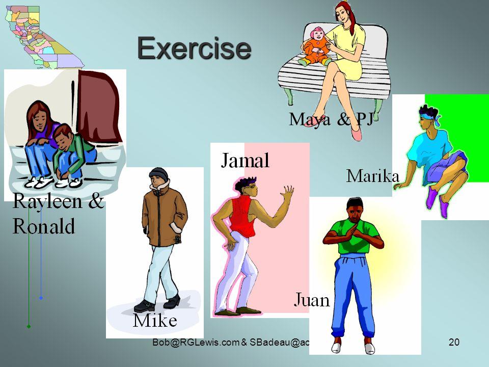 Bob@RGLewis.com & SBadeau@aol.com20 Maya & PJ Exercise
