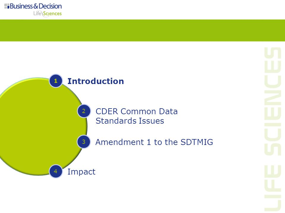 Introduction 06-May-2011: CDER published Common Data Standards Issues Document on the FDA website – Document will be updated periodically Source: http://www.fda.gov/Drugs/DevelopmentApprovalProcess/FormsSubmissionRequirements/Electro nicSubmissions/ucm248635.htm http://www.fda.gov/Drugs/DevelopmentApprovalProcess/FormsSubmissionRequirements/Electro nicSubmissions/ucm248635.htm