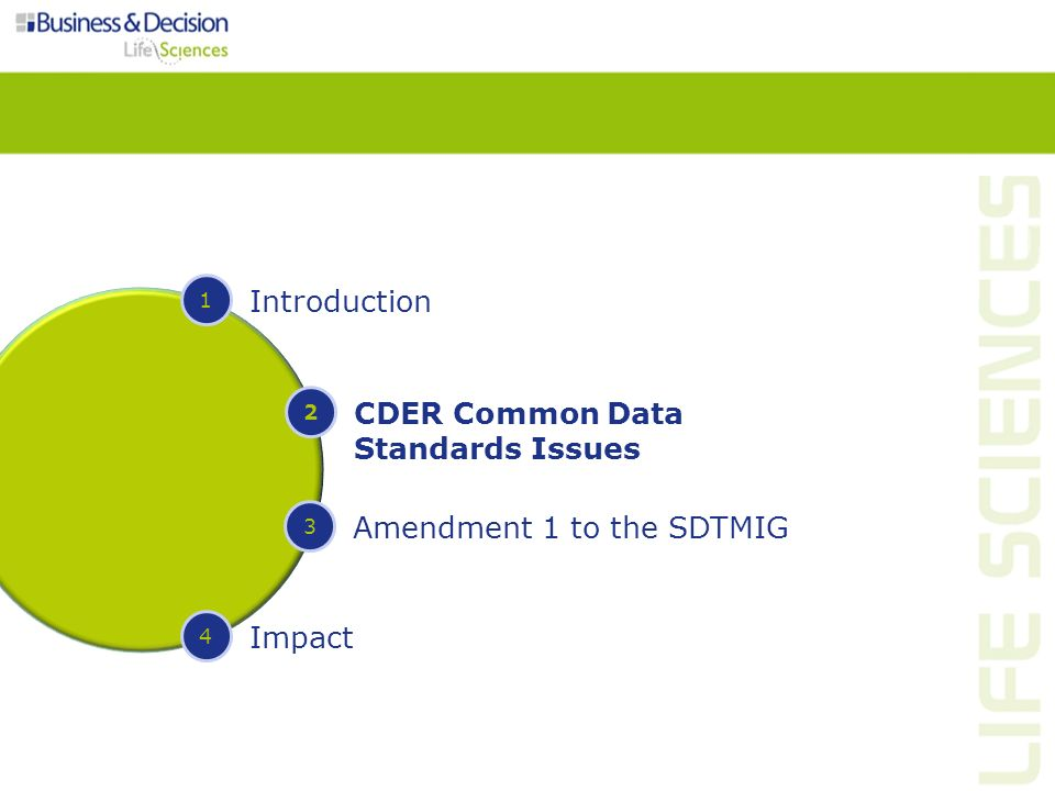 1 Introduction 2 CDER Common Data Standards Issues 3 Amendment 1 to the SDTMIG 4 Impact