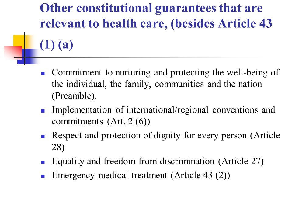 Other constitutional guarantees that are relevant to health care, (besides Article 43 (1) (a) Commitment to nurturing and protecting the well-being of the individual, the family, communities and the nation (Preamble).