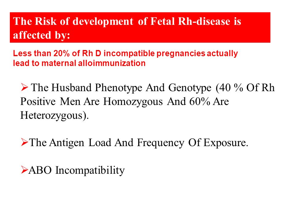 The Risk of development of Fetal Rh-disease is affected by: The Husband Phenotype And Genotype (40 % Of Rh Positive Men Are Homozygous And 60% Are Het
