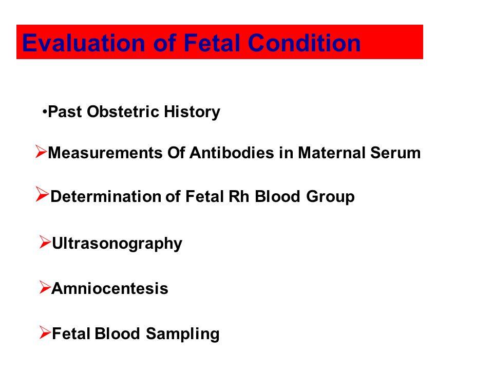 Evaluation of Fetal Condition Measurements Of Antibodies in Maternal Serum Determination of Fetal Rh Blood Group Ultrasonography Amniocentesis Fetal B