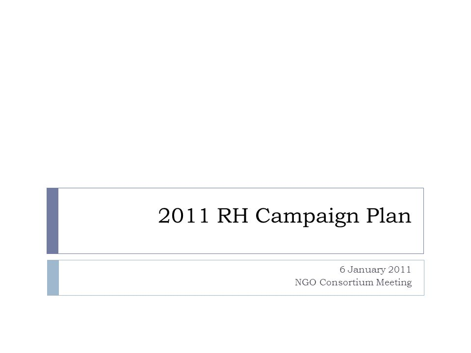 Campaign structure/machinery 1.NGO consortium – regular consultation every 2 weeks 2.