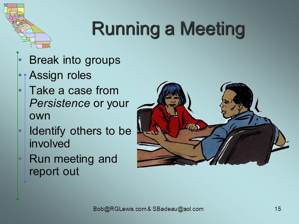 Bob@RGLewis.com & SBadeau@aol.com15 Running a Meeting Break into groups Assign roles Take a case from Persistence or your own Identify others to be involved Run meeting and report out