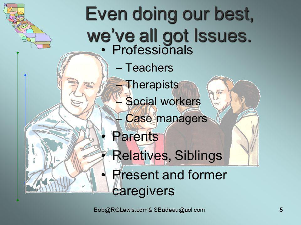 Bob@RGLewis.com & SBadeau@aol.com5 Even doing our best, weve all got Issues.