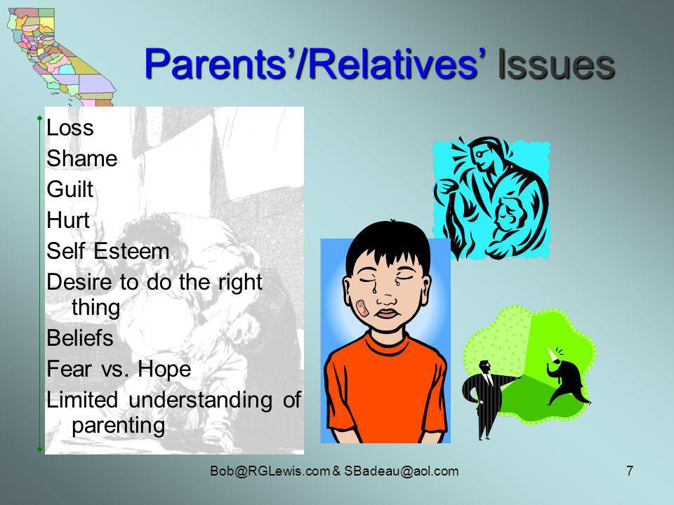 Bob@RGLewis.com & SBadeau@aol.com7 Parents/Relatives Issues Loss Shame Guilt Hurt Self Esteem Desire to do the right thing Beliefs Fear vs.