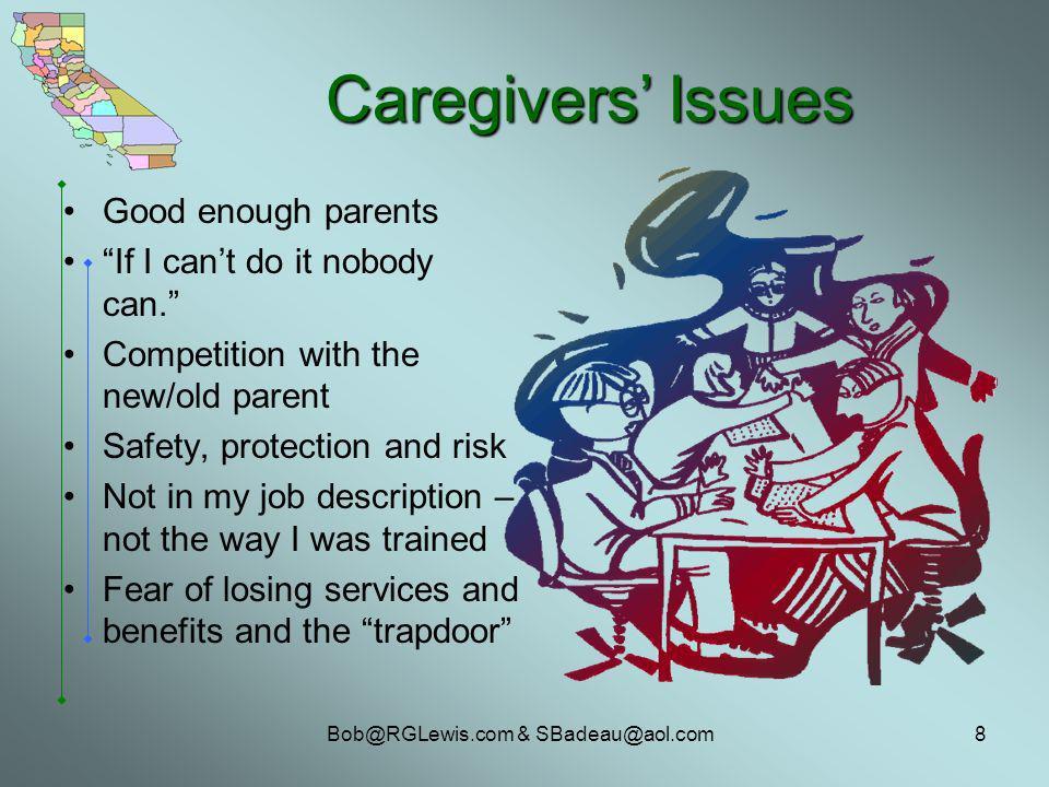 Bob@RGLewis.com & SBadeau@aol.com8 Caregivers Issues Good enough parents If I cant do it nobody can.
