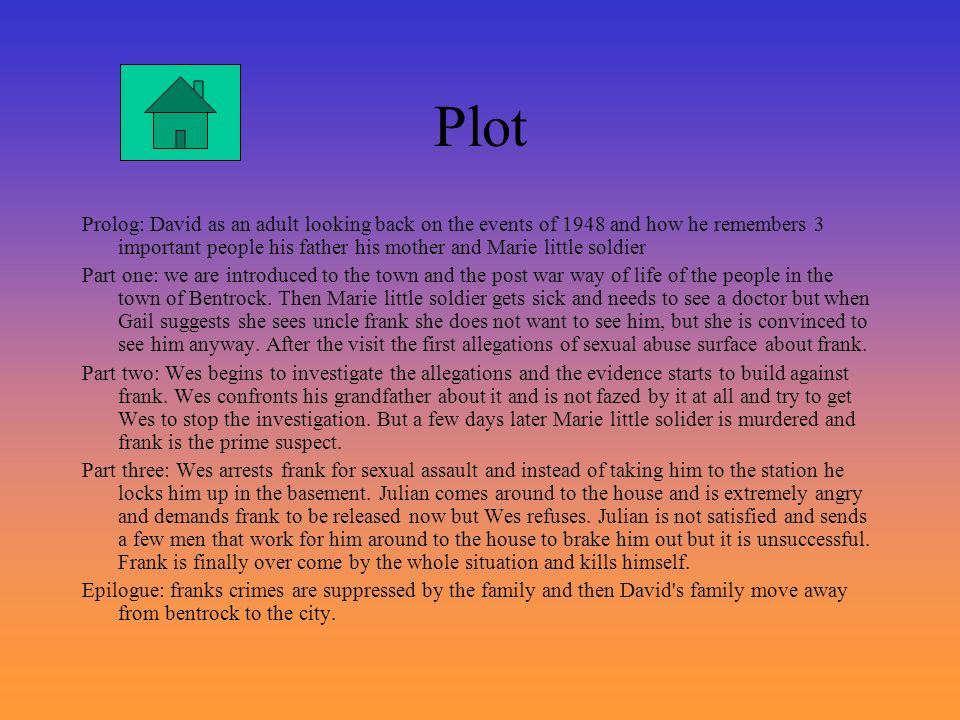 Plot Prolog: David as an adult looking back on the events of 1948 and how he remembers 3 important people his father his mother and Marie little soldi