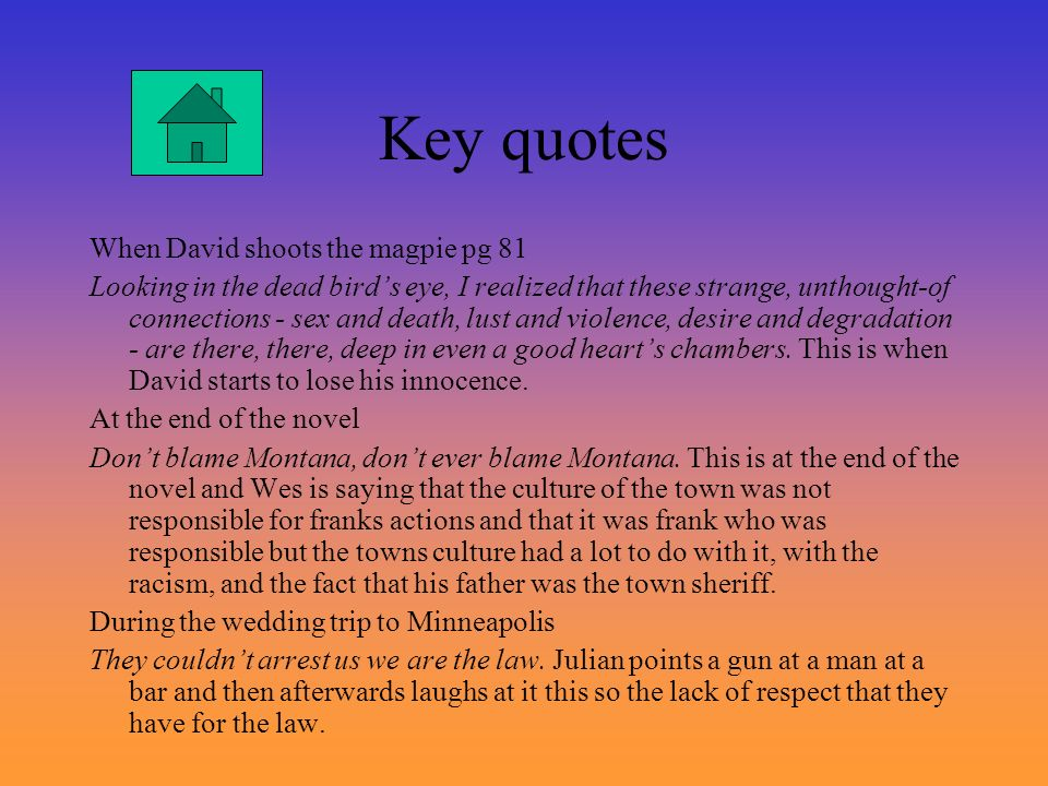 Key quotes When David shoots the magpie pg 81 Looking in the dead birds eye, I realized that these strange, unthought-of connections - sex and death,
