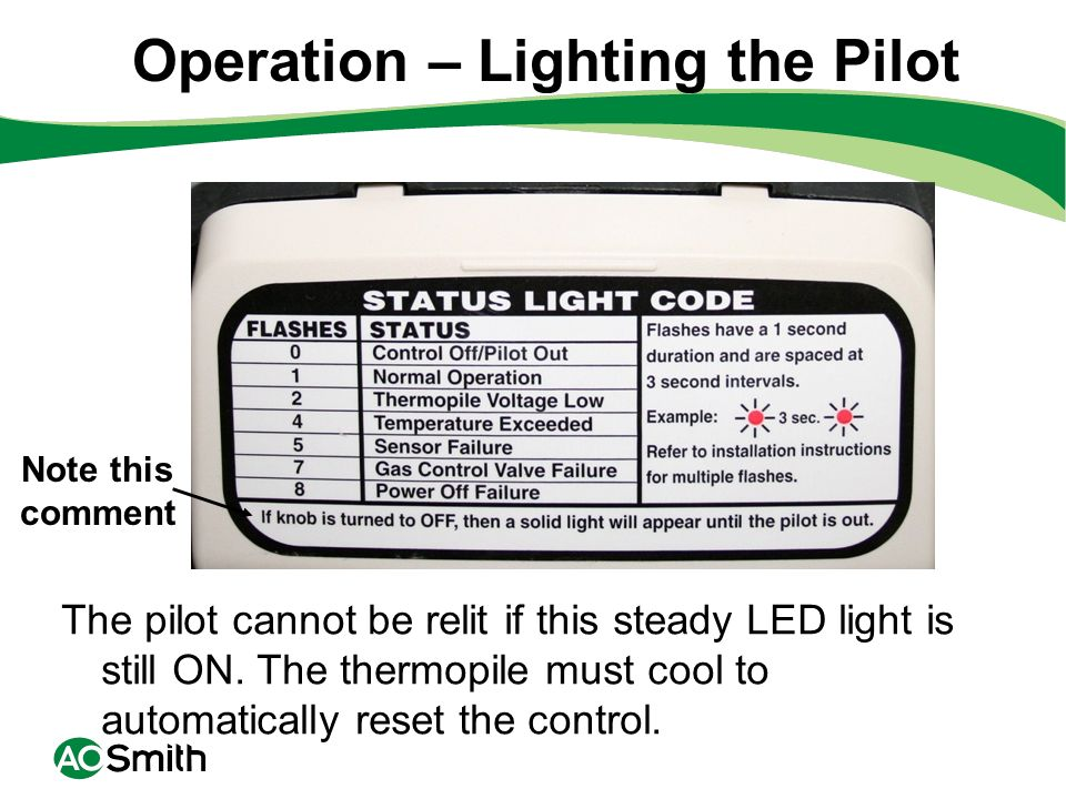 Note this comment Operation – Lighting the Pilot The pilot cannot be relit if this steady LED light is still ON. The thermopile must cool to automatic