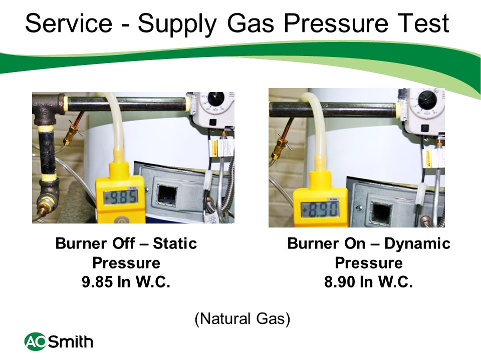 Service - Supply Gas Pressure Test Burner Off – Static Pressure 9.85 In W.C. Burner On – Dynamic Pressure 8.90 In W.C. (Natural Gas)