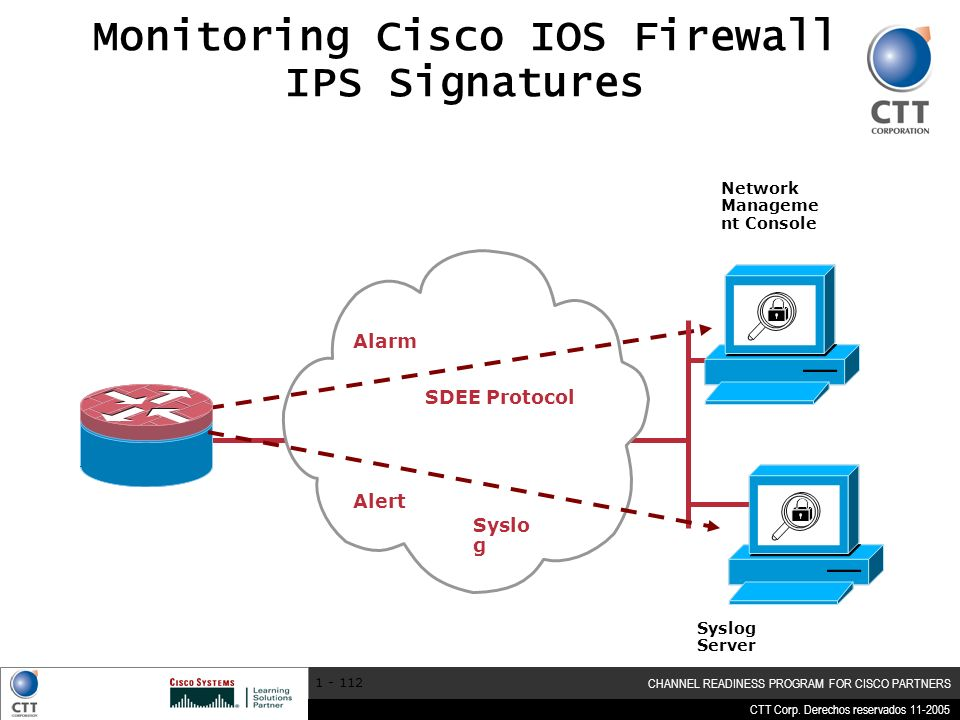 CTT Corp. Derechos reservados 11-2005 CHANNEL READINESS PROGRAM FOR CISCO PARTNERS 1 - 112 Monitoring Cisco IOS Firewall IPS Signatures Network Manage