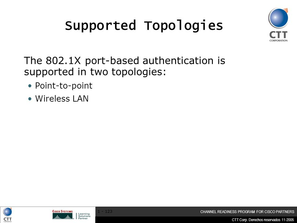 CTT Corp. Derechos reservados 11-2005 CHANNEL READINESS PROGRAM FOR CISCO PARTNERS 1 - 123 Supported Topologies The 802.1X port-based authentication i