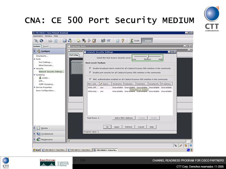 CTT Corp. Derechos reservados 11-2005 CHANNEL READINESS PROGRAM FOR CISCO PARTNERS 1 - 130 CNA: CE 500 Port Security MEDIUM