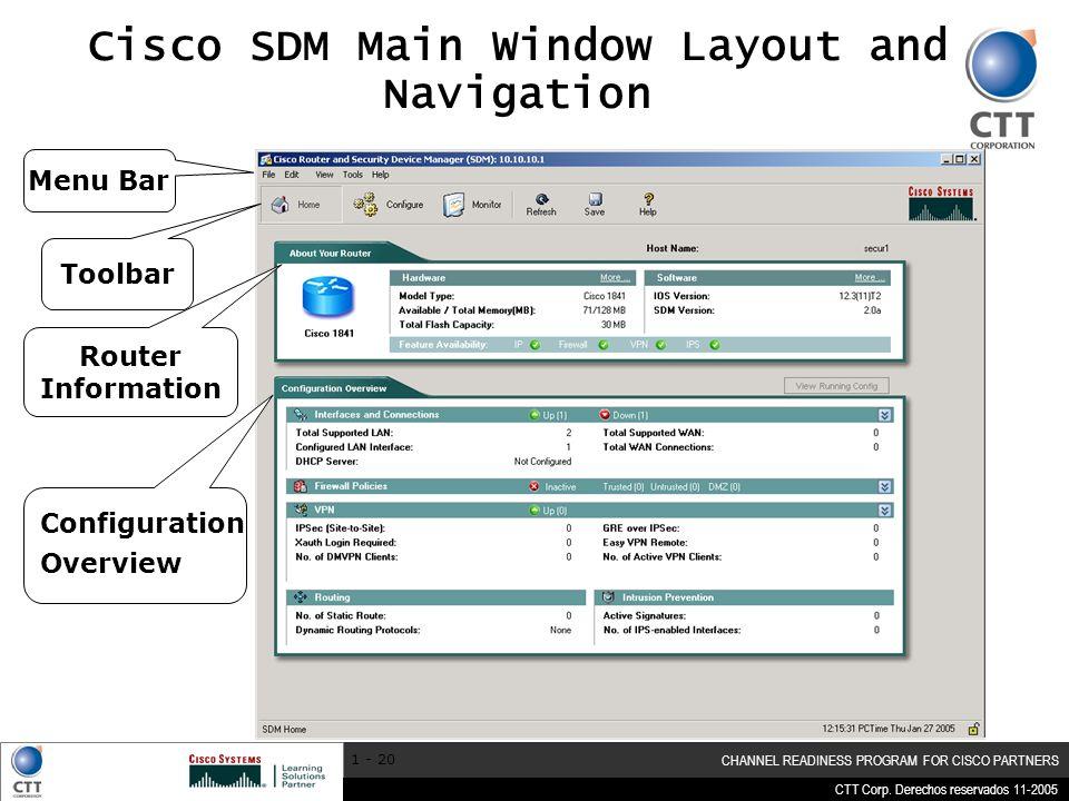 CTT Corp. Derechos reservados 11-2005 CHANNEL READINESS PROGRAM FOR CISCO PARTNERS 1 - 20 Cisco SDM Main Window Layout and Navigation Menu Bar Toolbar