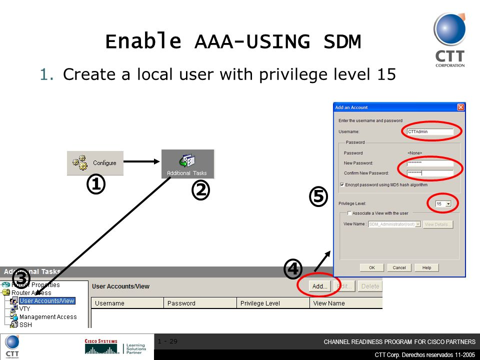 CTT Corp. Derechos reservados 11-2005 CHANNEL READINESS PROGRAM FOR CISCO PARTNERS 1 - 29 Enable AAA-USING SDM 1.Create a local user with privilege le