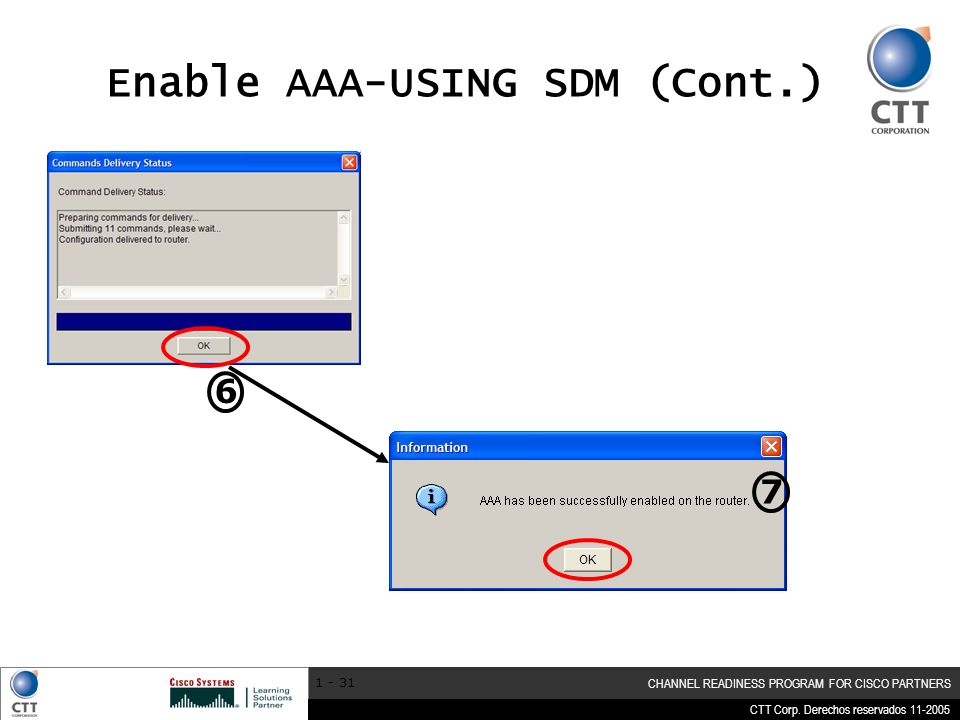 CTT Corp. Derechos reservados 11-2005 CHANNEL READINESS PROGRAM FOR CISCO PARTNERS 1 - 31 Enable AAA-USING SDM (Cont.) 6 7