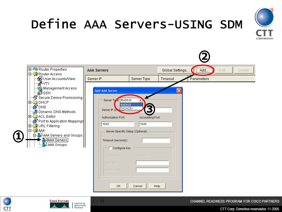CTT Corp. Derechos reservados 11-2005 CHANNEL READINESS PROGRAM FOR CISCO PARTNERS 1 - 33 Define AAA Servers-USING SDM 1 2 3