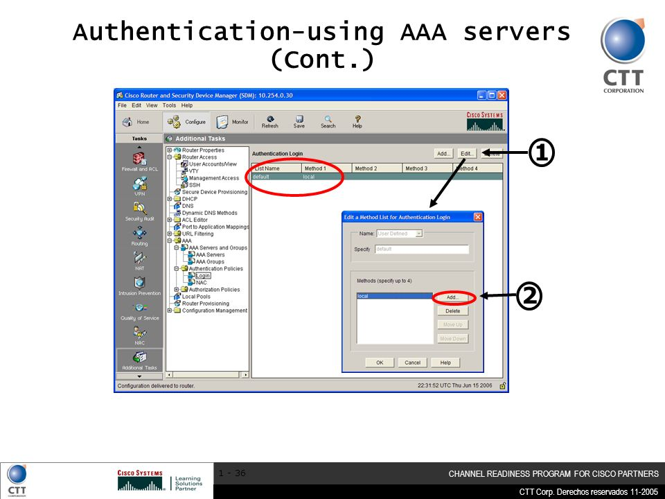 CTT Corp. Derechos reservados 11-2005 CHANNEL READINESS PROGRAM FOR CISCO PARTNERS 1 - 36 Authentication-using AAA servers (Cont.) 1 2