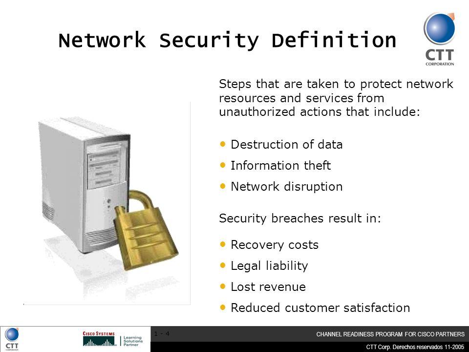 CTT Corp. Derechos reservados 11-2005 CHANNEL READINESS PROGRAM FOR CISCO PARTNERS 1 - 4 Destruction of data Information theft Network disruption Step