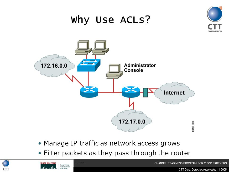 CTT Corp. Derechos reservados 11-2005 CHANNEL READINESS PROGRAM FOR CISCO PARTNERS 1 - 41 Manage IP traffic as network access grows Filter packets as