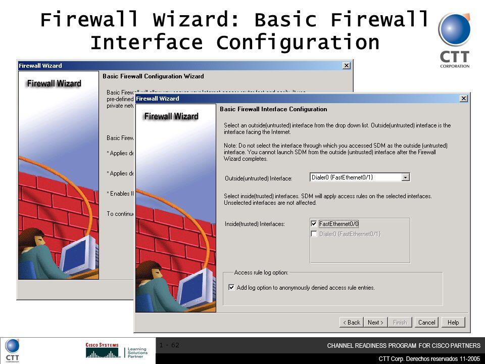 CTT Corp. Derechos reservados 11-2005 CHANNEL READINESS PROGRAM FOR CISCO PARTNERS 1 - 62 Firewall Wizard: Basic Firewall Interface Configuration