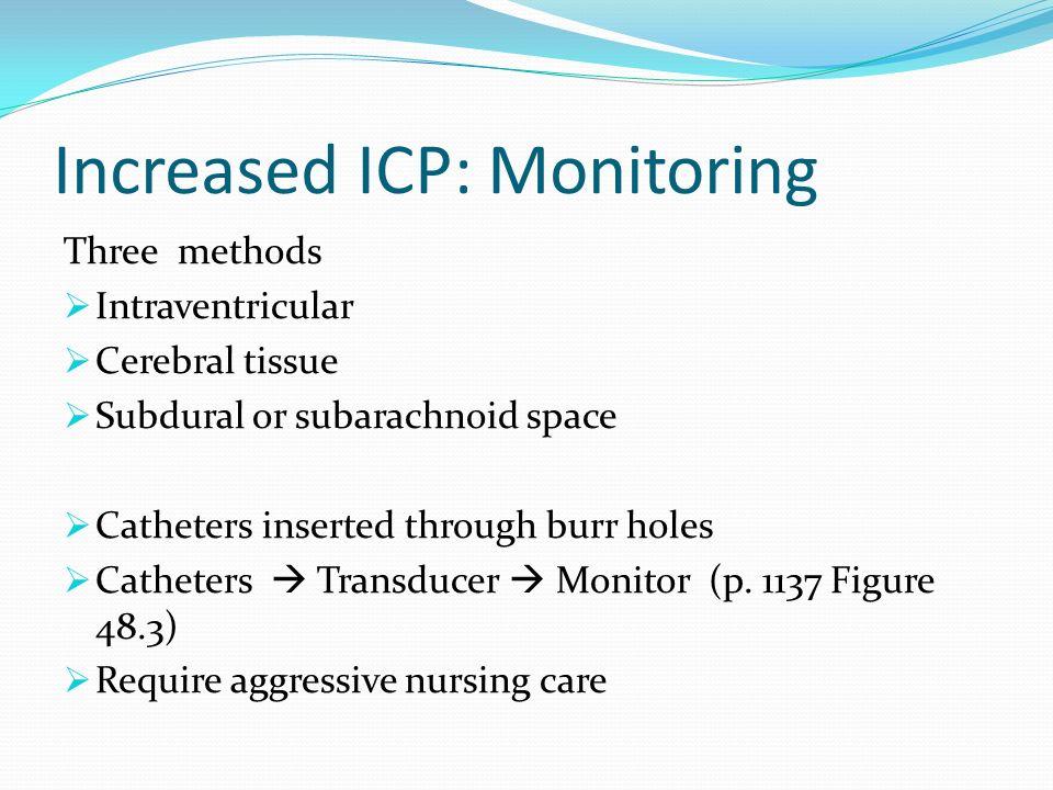 Increased ICP: Monitoring Three methods Intraventricular Cerebral tissue Subdural or subarachnoid space Catheters inserted through burr holes Catheter