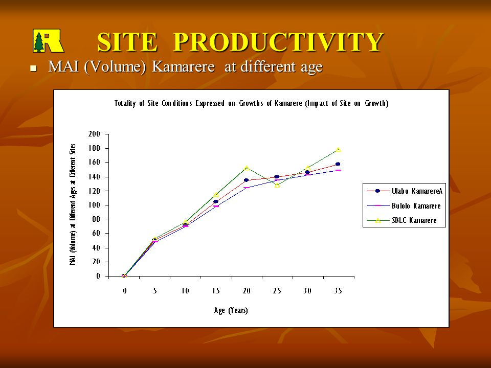SITE PRODUCTIVITY MAI (Volume) Kamarere at different age MAI (Volume) Kamarere at different age