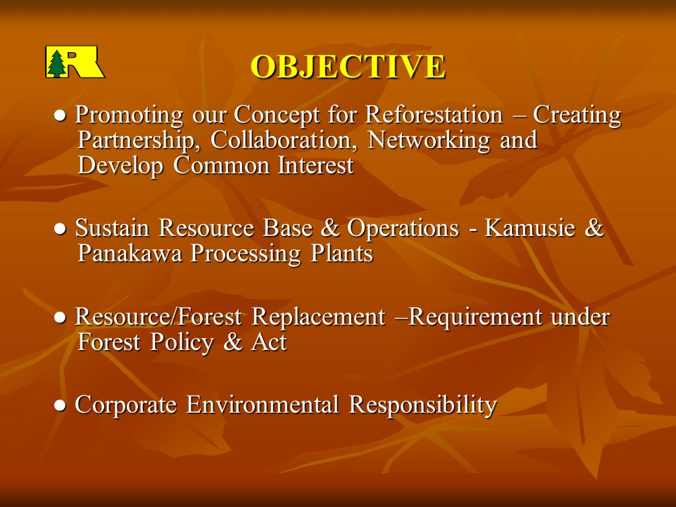 OBJECTIVE OBJECTIVE Promoting our Concept for Reforestation – Creating Partnership, Collaboration, Networking and Develop Common Interest Promoting our Concept for Reforestation – Creating Partnership, Collaboration, Networking and Develop Common Interest Sustain Resource Base & Operations - Kamusie & Panakawa Processing Plants Sustain Resource Base & Operations - Kamusie & Panakawa Processing Plants Resource/Forest Replacement –Requirement under Forest Policy & Act Resource/Forest Replacement –Requirement under Forest Policy & Act Corporate Environmental Responsibility Corporate Environmental Responsibility