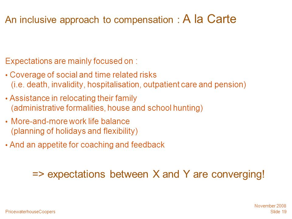 PricewaterhouseCoopers November 2008 Slide 19 An inclusive approach to compensation : A la Carte Expectations are mainly focused on : Coverage of soci