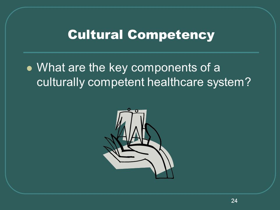 24 Cultural Competency What are the key components of a culturally competent healthcare system?