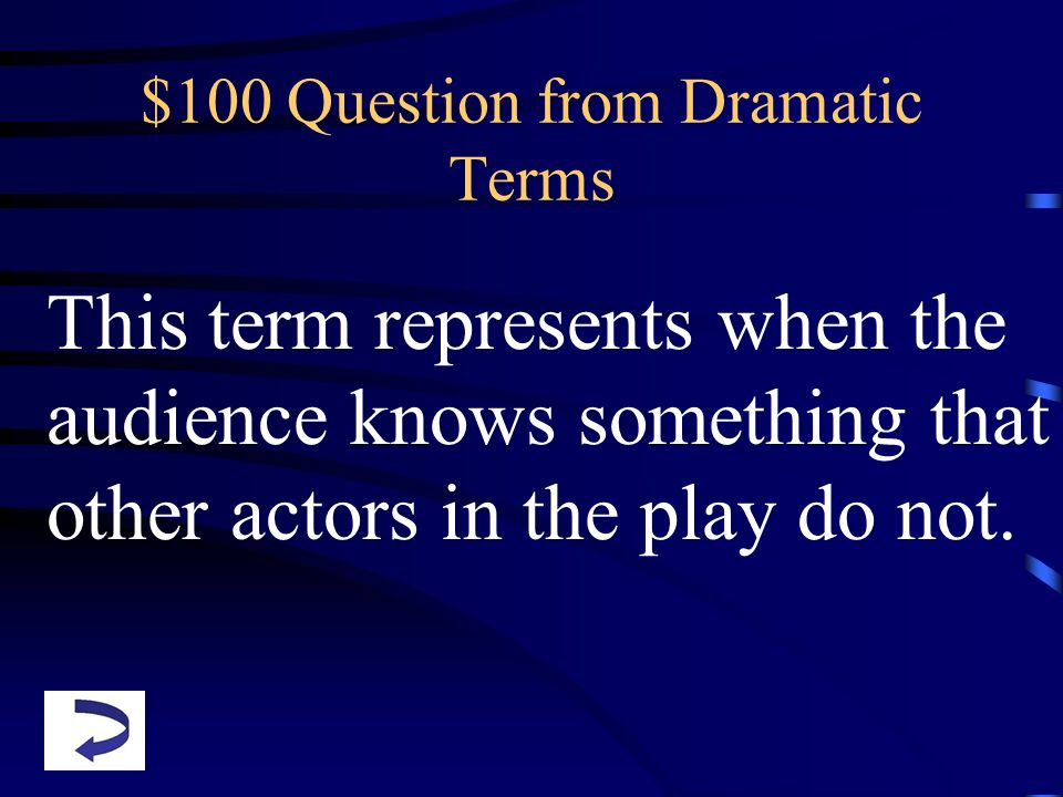 $100 Question from Dramatic Terms This term represents when the audience knows something that other actors in the play do not.