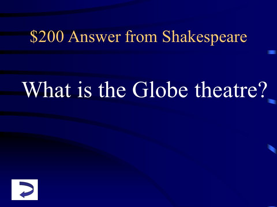$200 Answer from Shakespeare What is the Globe theatre?