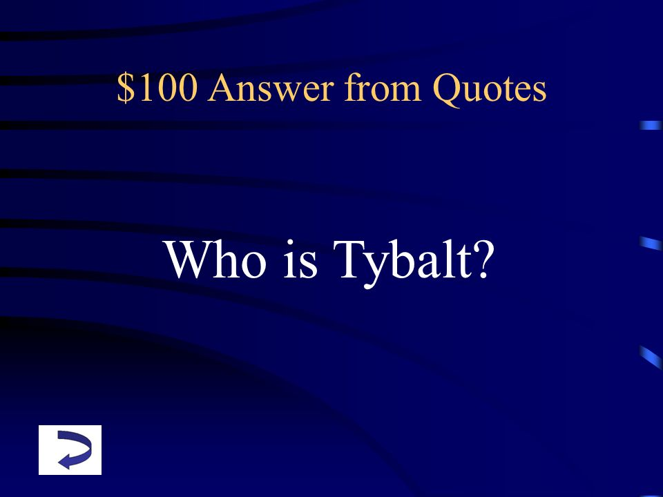 $100 Answer from Quotes Who is Tybalt?