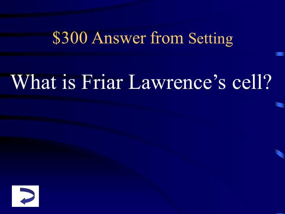 $300 Answer from Setting What is Friar Lawrences cell?