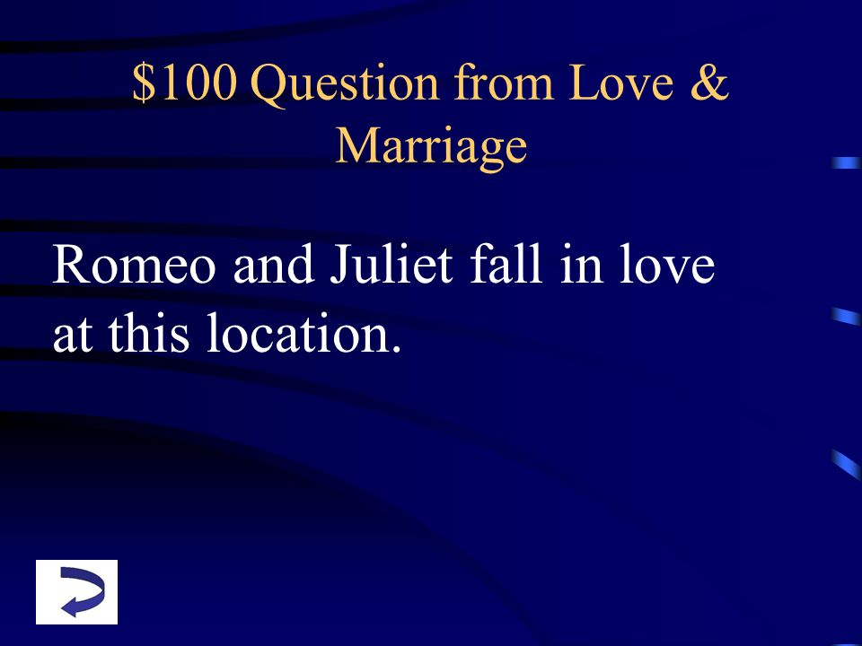 $100 Question from Love & Marriage Romeo and Juliet fall in love at this location.
